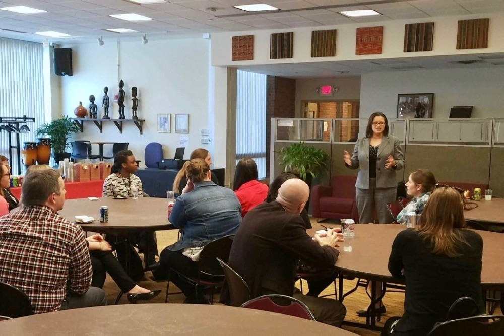 Bleuzette Marshall speaks at the first Mentor Me UC reception in February. photo/provided