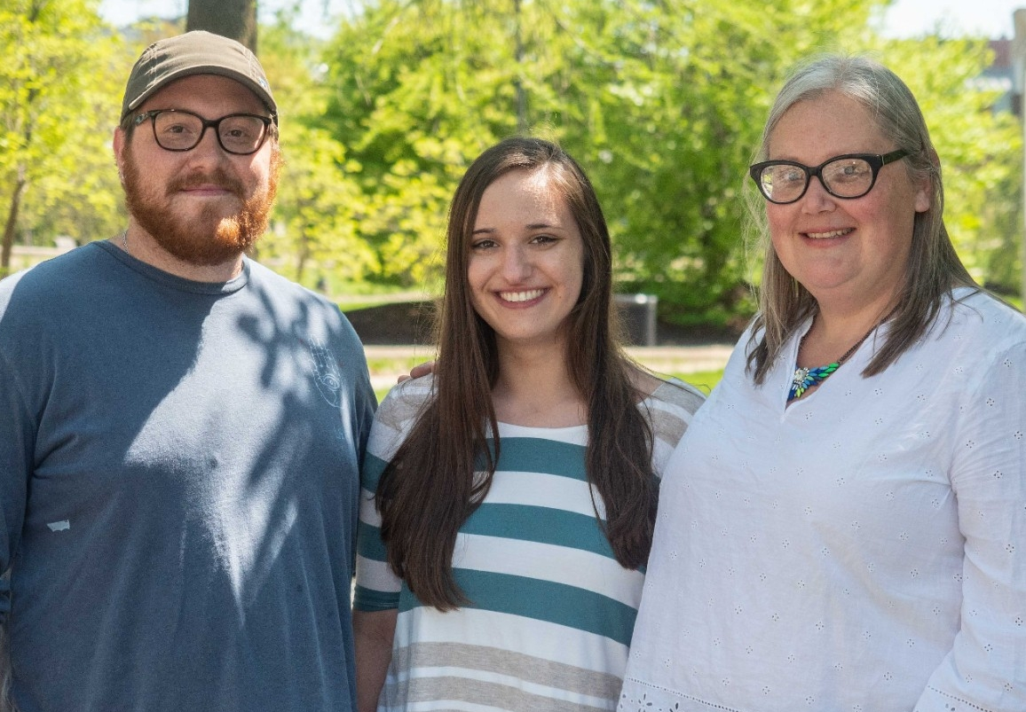 UC students Jacob Deighton and Laurie Heldman, left, pose with UC geology professor Amy Townsend-Small.
