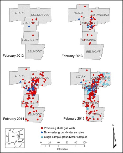 Time-series map of counties in UC's study.