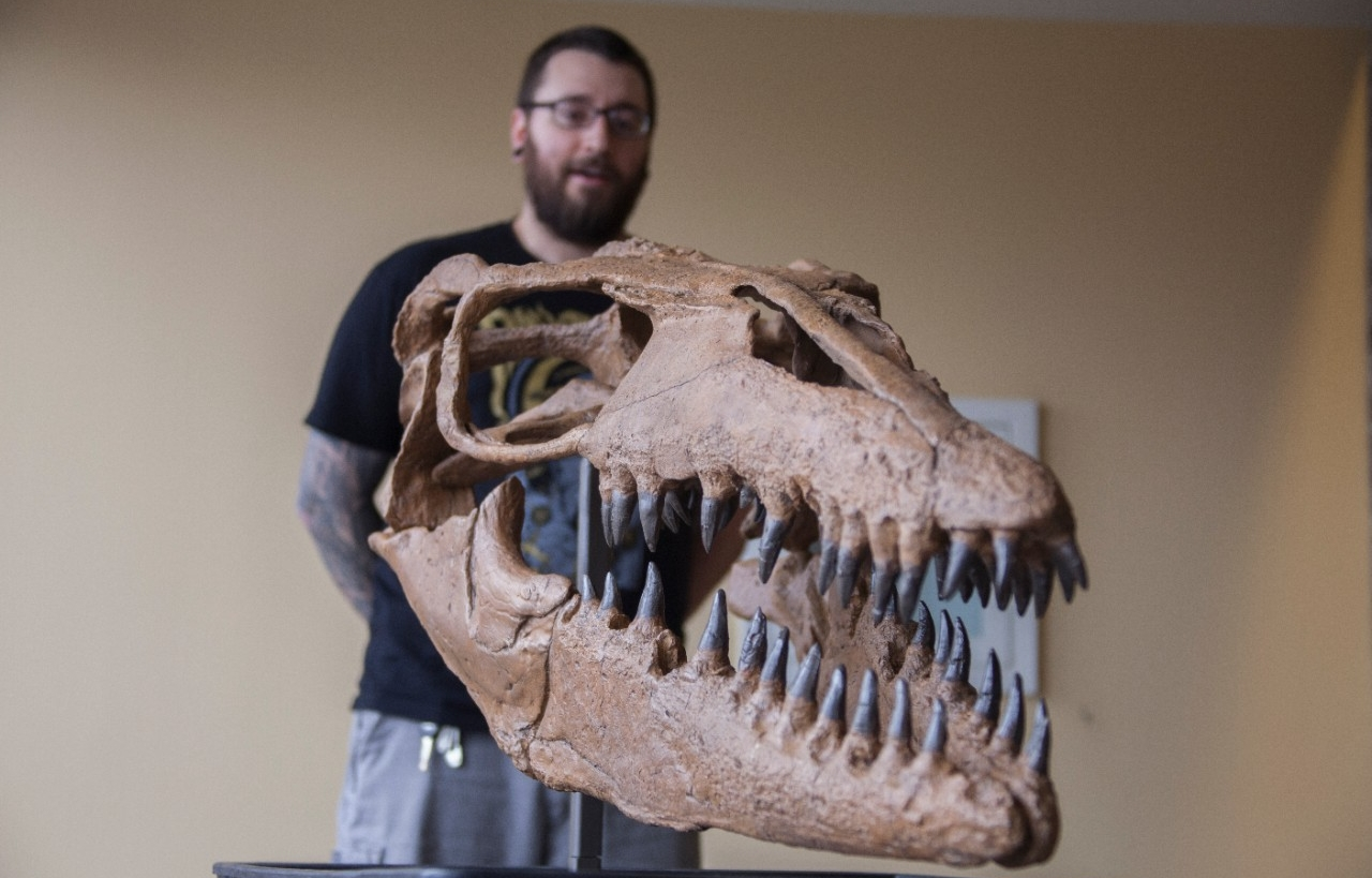 UC graduate student Samuel Garvey stands in front of a cast of a mosasaur skull.