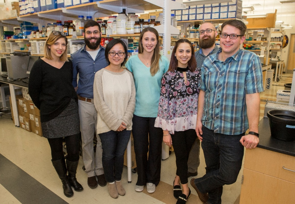 The study co-authors included, from left, UC students Emily Jennings and Christopher Holmes, UC math professor Yanyu Xiao, UC students Elise Didion and Gabriela Nine, UC postdoctoral fellow Andrew Rosendale and UC biology professor Joshua Benoit. Not pictured are co-authors Richard Hagan, Samantha Siler, Jacob Hendershot, Kiaira Elliott, Paula Perez, Alexandre Rizkallah, Miki Watanabe, Lindsey Romick-Rosendale and Jason Rasgon.