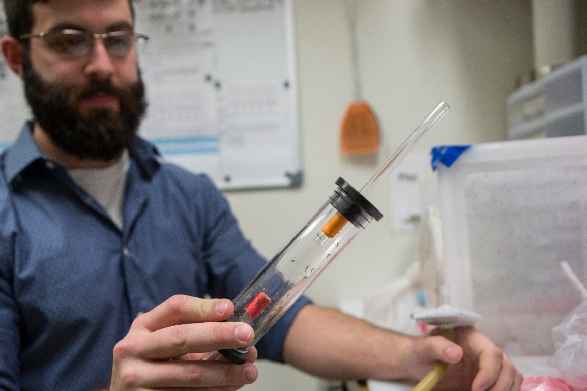 UC graduate student Christopher Holmes holds up a glass tube full of mosquitoes in a biology lab.