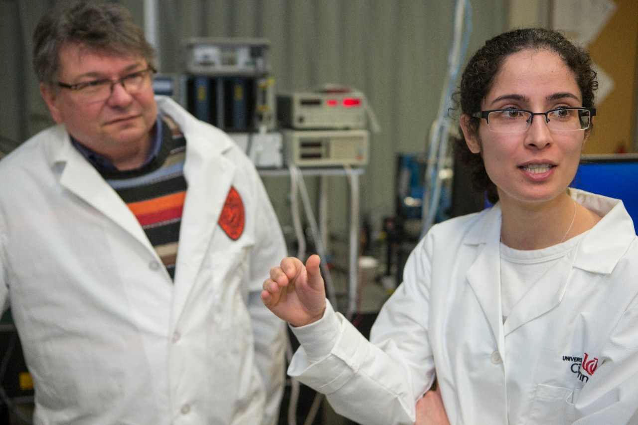 UC graduate student Fatemesadat Mohammadi, right, said future research might examine how different metal coatings change the properties of nanowire semiconductors.