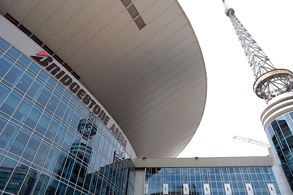 Exterior shot of Bridgestone Arena.