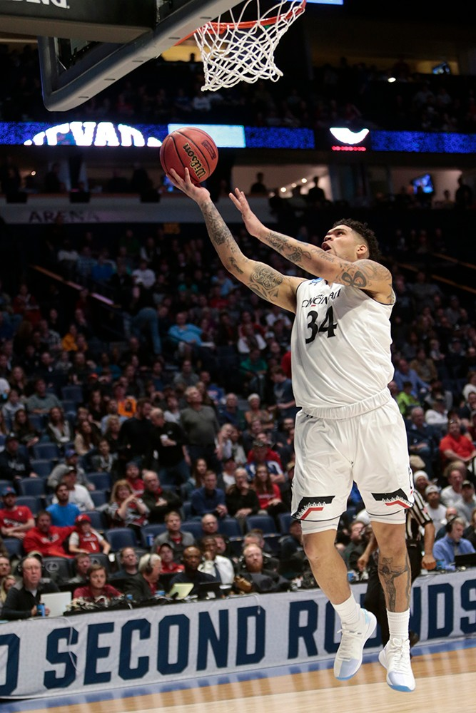 Jarron Cumberland goes for a lay-up.