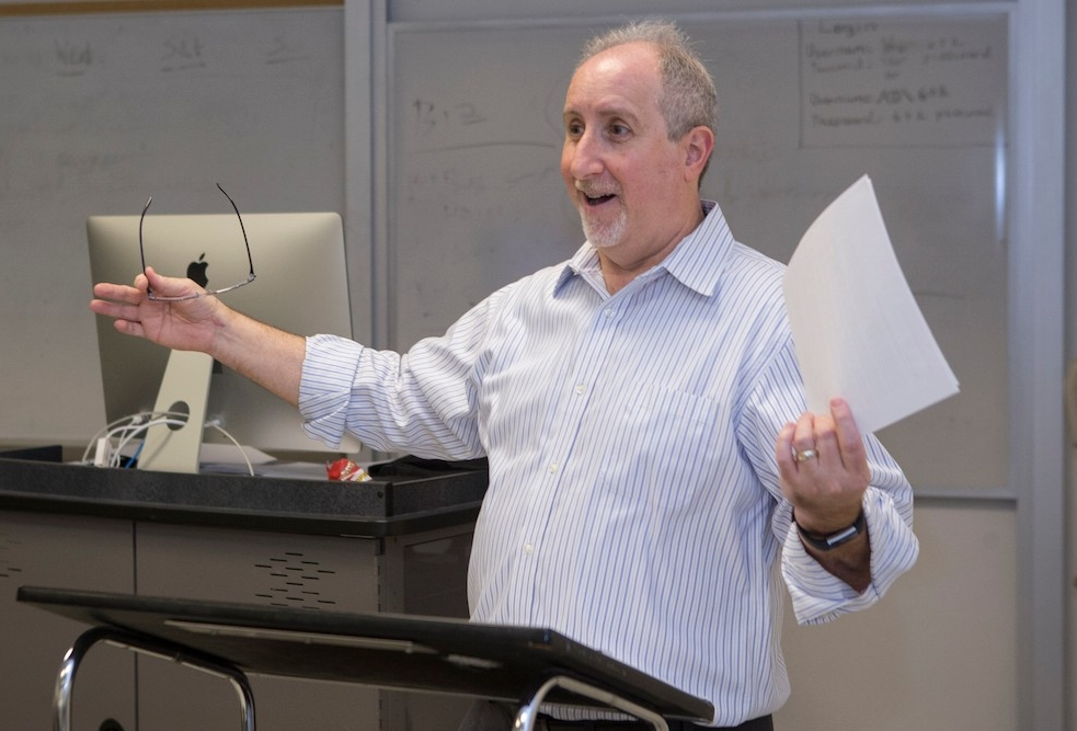 UC alumnus Michael Perry teaching in his classroom at UC.
