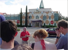 David Niland leads students on a tour at Disney World.