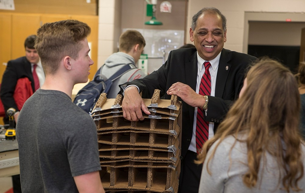UC President Neville Pinto visits with students at Oak Hills High School on March 2, 2017.