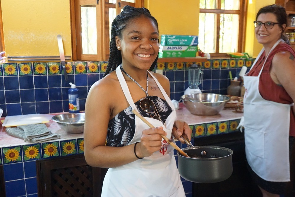 UC students enjoy a cooking class at the Season's of My Heart cooking school in Oaxaca, Mexico.