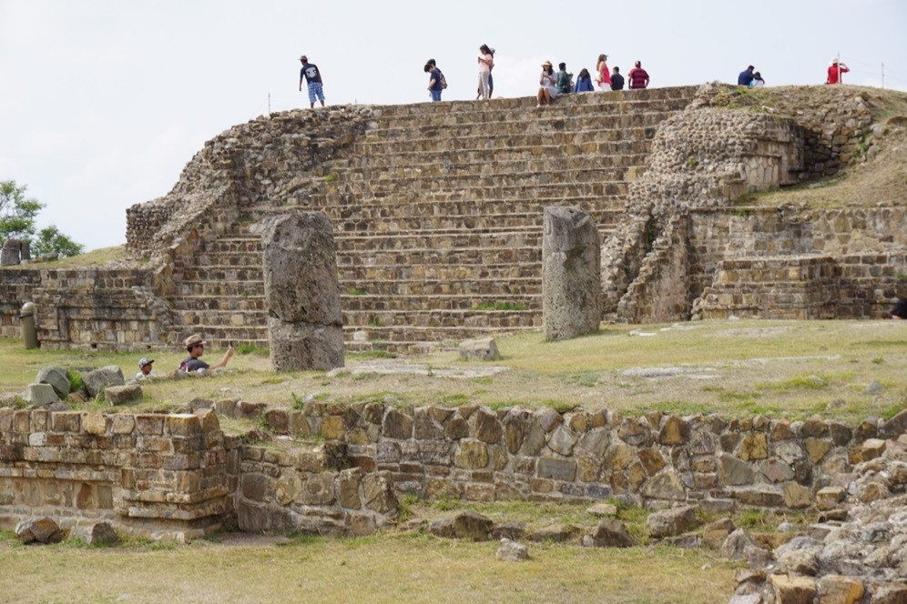 UC study abroad students climb ancient pyramids in Monte Alban near Oaxaca, Mexico.