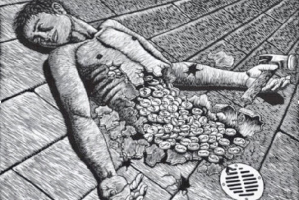 A black & white example of street art depicting the severed torso of a person on the ground with coins spilling from their stomach representing the inequities in Oaxaca, Mexico.