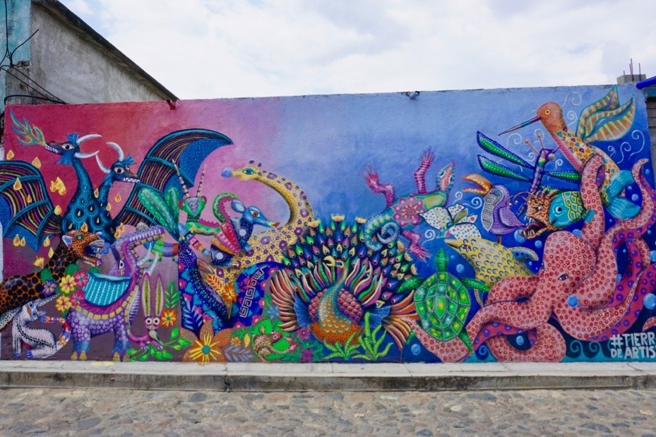A colorful example of street art adorns the side of a building in Oaxaca, Mexico.