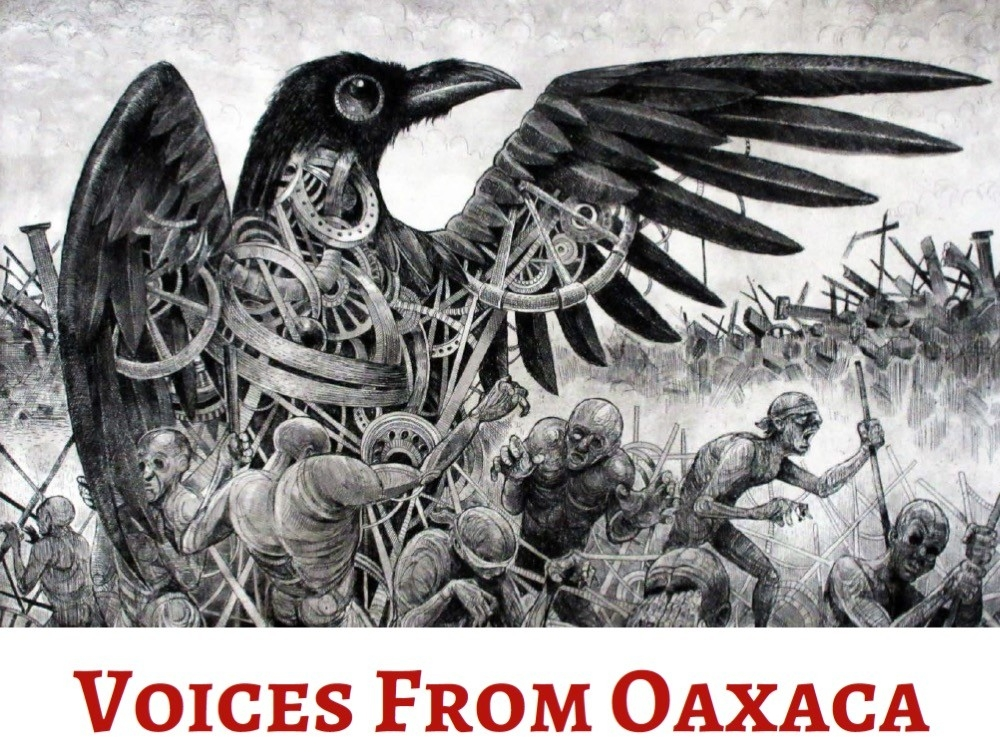 Black & white sketch from social justice artists in Oaxaca, Mexico, portrays a giant power-hungry bird hovering over the poor as vulnerable prey.
