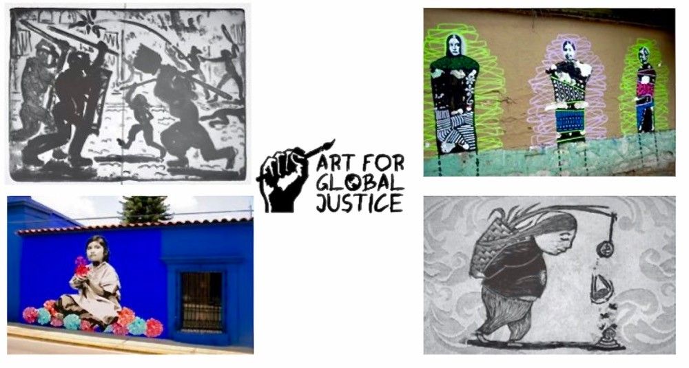 Four examples of political street art created by local artists to bring awareness to social and health inequities in Oaxaca, Mexico.