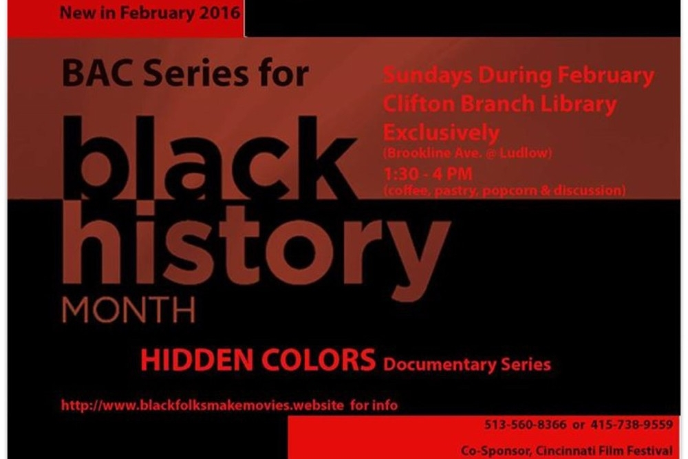 Poster featuring the Black American Cinema Series for Black History Month.