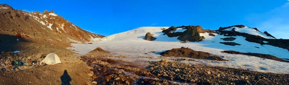 Pano view of volcanic peak Collier Glacier, part of Three Sisters in Oregon.