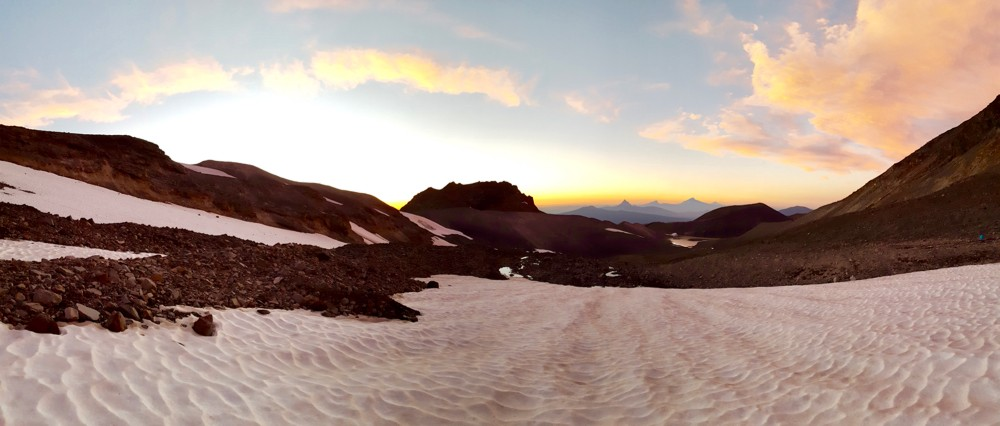 Pano view of Colier Glacier on North Sister Mountain, Oregon.