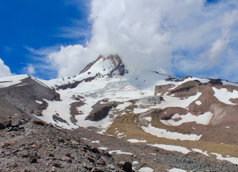Eliot Glacier (center) on the northeast flank of Mt. Hood in Oregon.