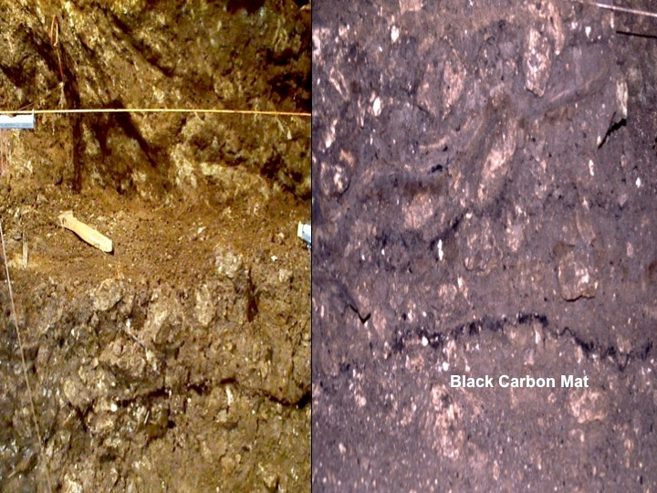 Close-up of the ancient dark mantle found inside Sheriden Cave, Ohio where 12,500-year-old specimens are found.