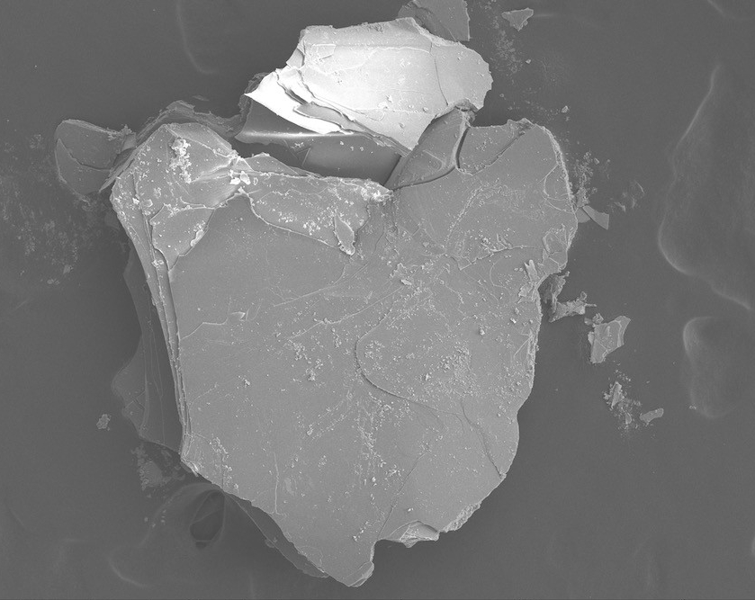 SEM micrograph of biotite, a volcanic mineral found in ancient pottery.
