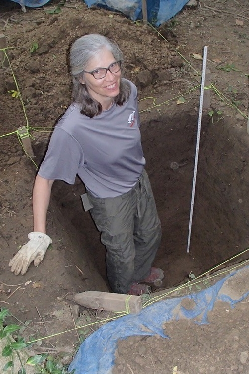 UC student Marcy Taylor collecting sediment samples from the Wynema site in Mariemont, Ohio.