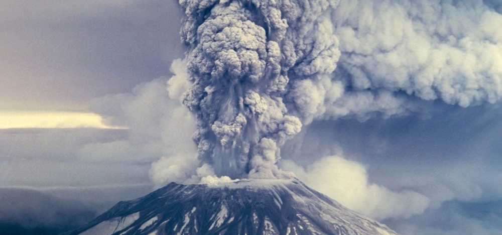 Volcanic ash and smoke billow from Mt. St. Helens in 1980.