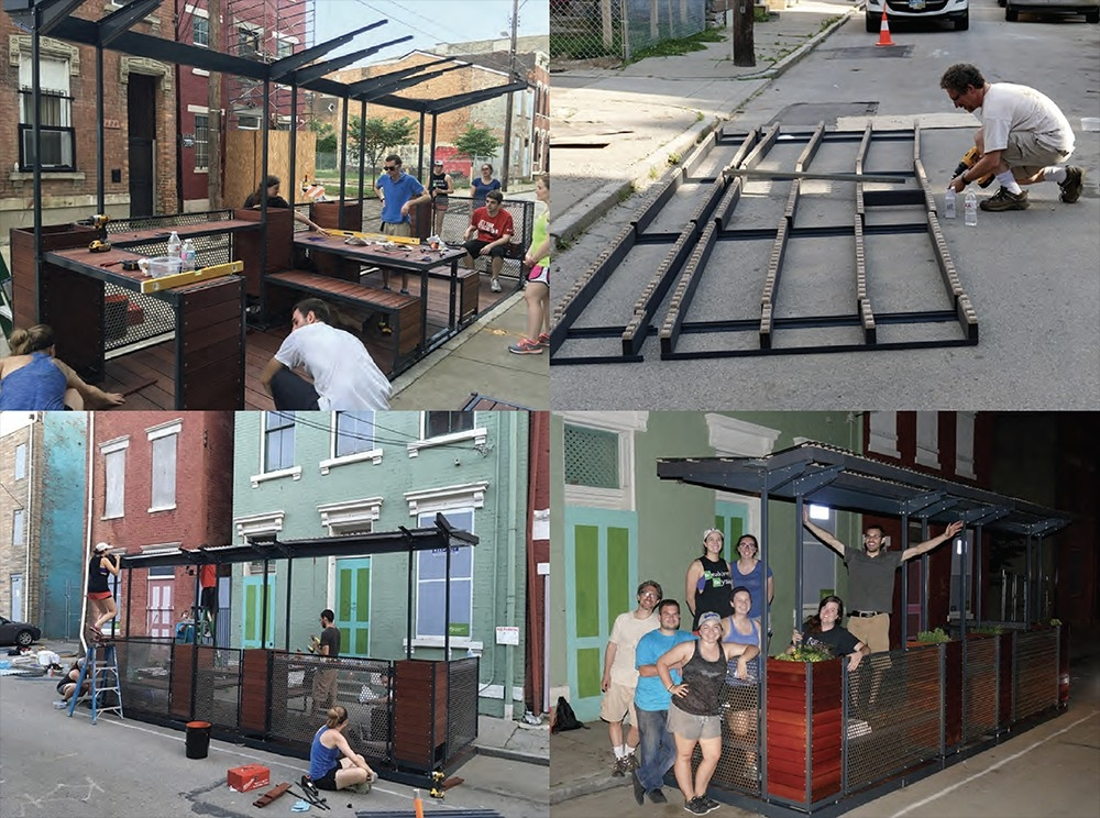 DAAP graduate architecture students and professor Michael Zaretsky install the parklet on Pleasant Street in Over-the-Rhine.