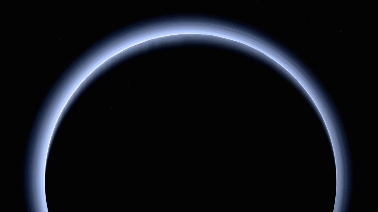 New Horizons captured the blue haze of Pluto's methane atmosphere during the spacecraft's 2015 flyby. (NASA/Johns Hopkins University Applied Physics Laboratory/Southwest Research Institute)