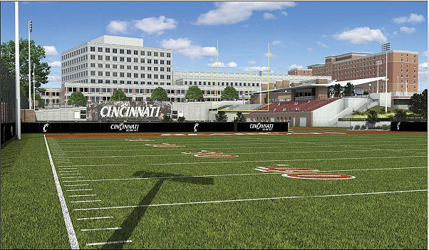 Once complete, the practice fields will allow UC's football team to move practices from Nippert Stadium. The Bearcats are one of the few Football Bowl Subdivision teams left that play and practice on the same surface.