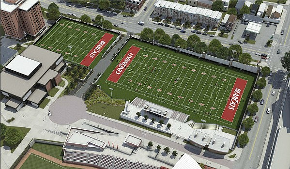 Once complete, the new practice fields complex will extend UC's Varsity Village from Nippert Stadium all the way to Jefferson Avenue.