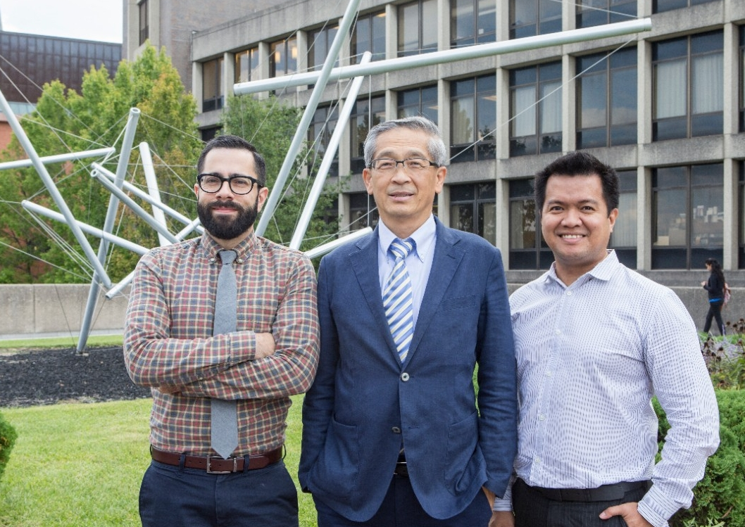 Predictronics CEO Edzel Lapira, right, worked with UC engineering professor Jay Lee, center, and Patrick Brown, both with UC's Center for Intelligent Maintenance Systems, to launch Predictronics in 2012.