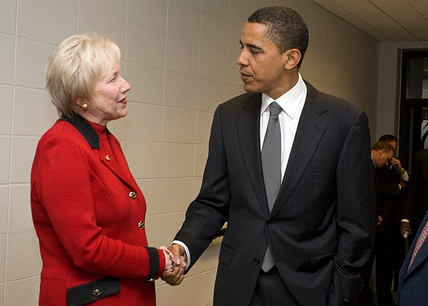 UC President Nancy Zimpher welcomes Barack Obama to campus during the 2008 primary campaign stop at the university.