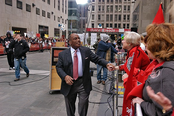President Zimpher meets Al Roker of The Today Show in New York City in 2007 during a trip to showcase CCM students to Broadway casting directors.