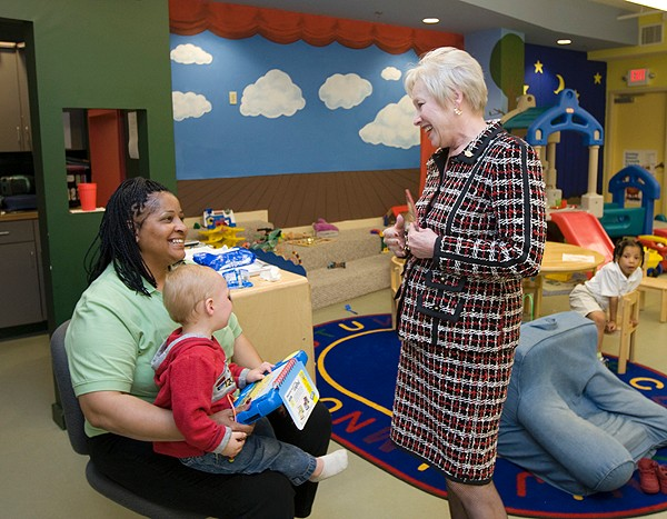 Dr. Zimpher tours ACT, an organization that partners with UC's Raymond Walters College to allow working adults with dependent children to pursue a college education.