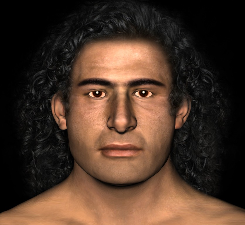 Reconstruction of the face of the Griffin Warrior.  Man with long hair