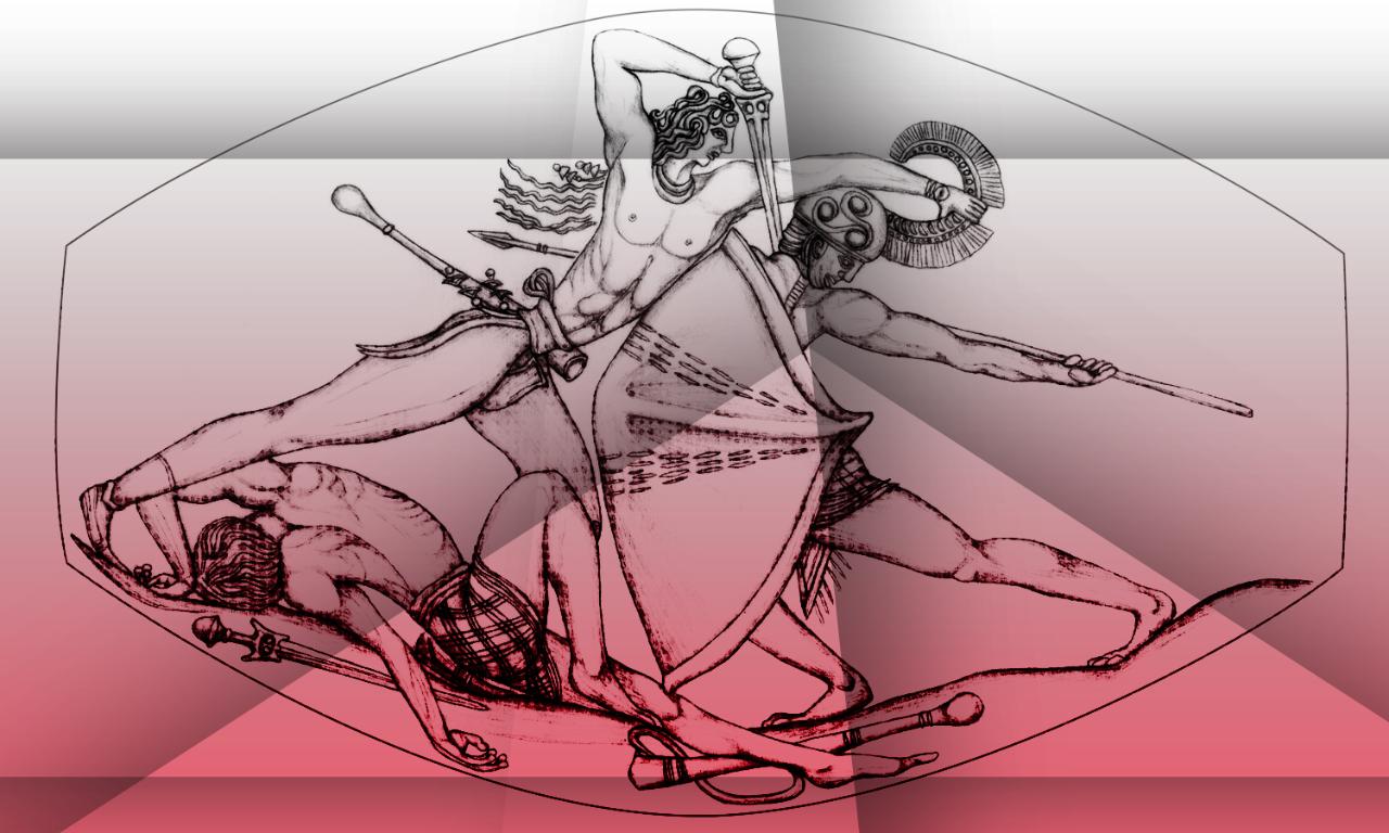 Artist's rendering of combat scene in Pylos Combat Agate sealstone