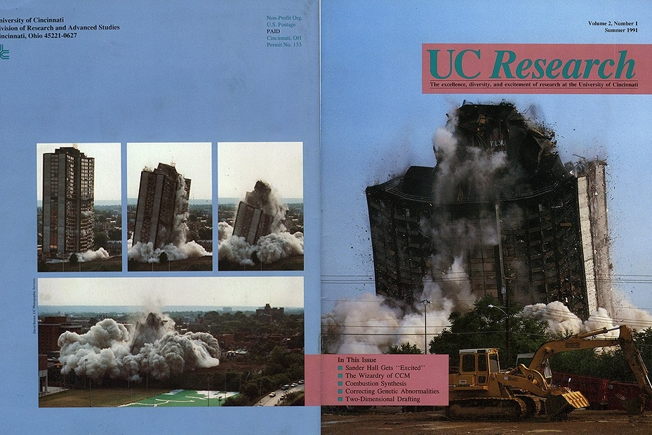 Cover of UC Research publication shows Sander Hall implosion