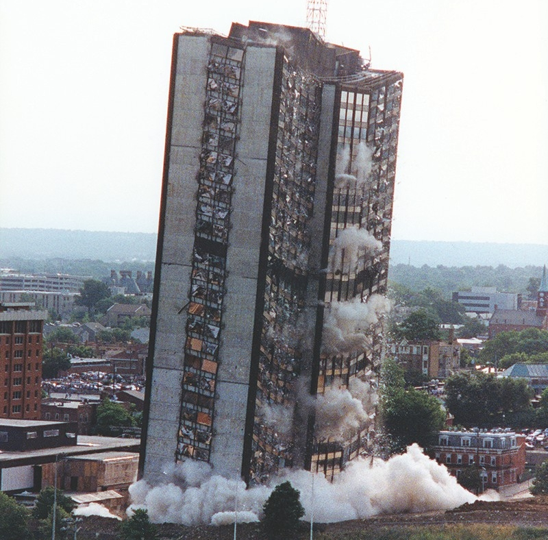 Building implosion of Sander Hall