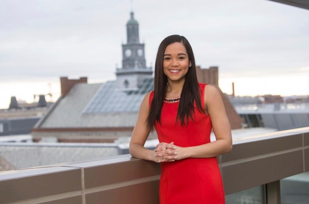 Alisha Hamilton, UC 2018 PLME winner stands on balcony overlooking TUC. photo/Andrew Higley/UC Creative Services
