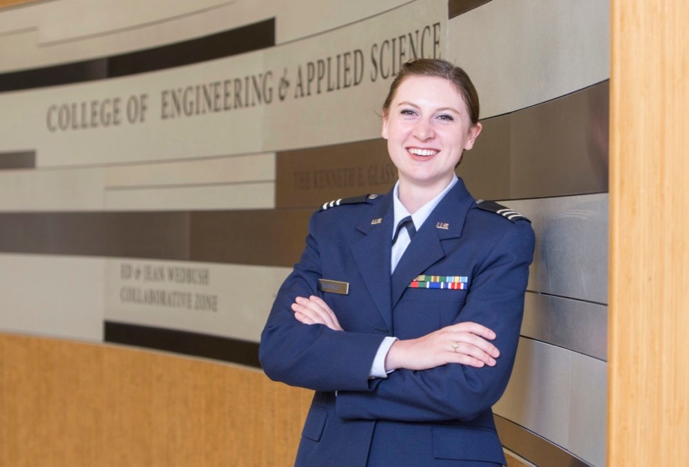 Liberty Shokley, UC 2018 PLME winner stands in UC's College of Engineering. photo/Andrew Higley/UC Creative Services