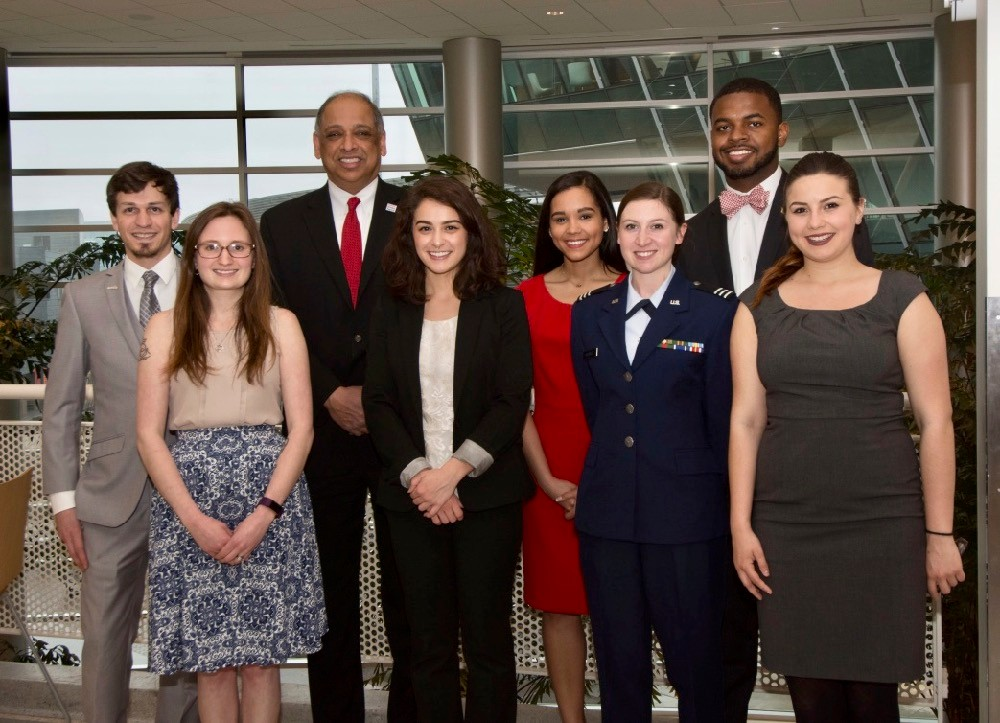 UC President Neville Pinto honored the 2018 Presidential Medal of Graduate Student Excellence winners from left, Ryan Makinson and Sheva Guy, President Pinto and Presidential Leadership Medal of Excellence winners Madelyn Leembruggen, Alesha Hamilton, Liberty Shockley, Mitchell Phelps and Laura Mendez Ortiz. Photo/Lisa Britton/UC Creative Services