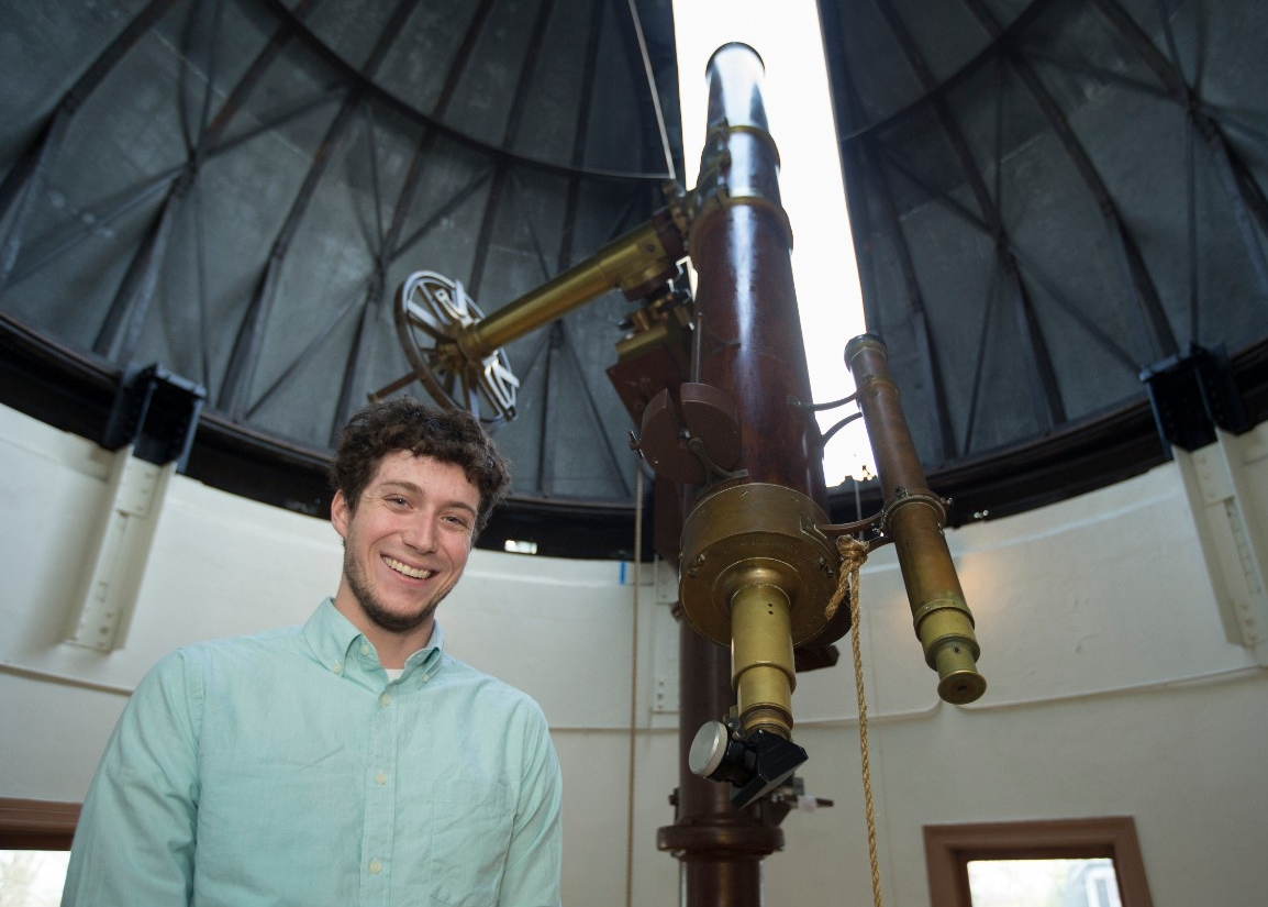 UC grad Kevin Wagner volunteered at the Cincinnati Observatory, which still has its original telescope from 1845.