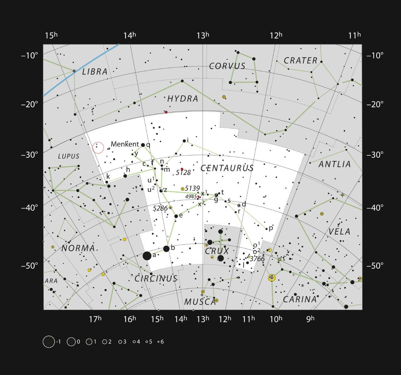A map of Centaurus shows where Scorpion-1b is found near the Southern Cross.