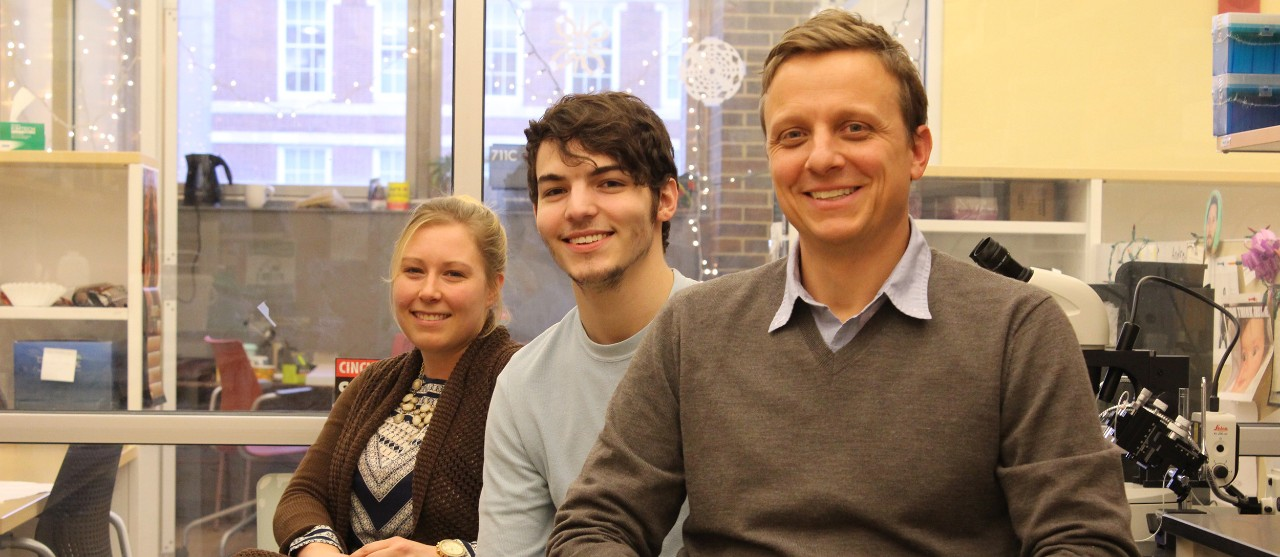 UC researcher Josh Gross with students