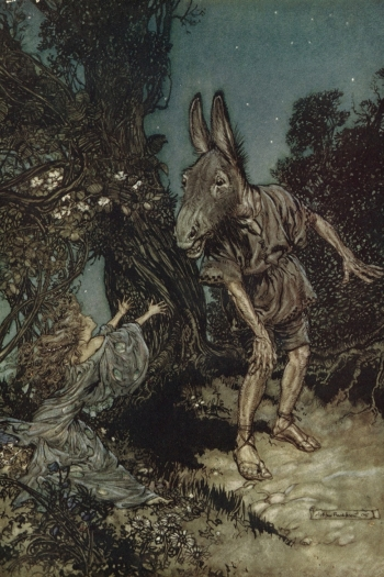 An ink and watercolor painting of a man with a horse's head from Shakespeare's A Midsummer Night's Dream.