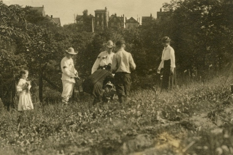 UC faculty stand costumed in Burnet Woods during the 1916 Market Parade for the 300th anniversary of Shakespeare's death.