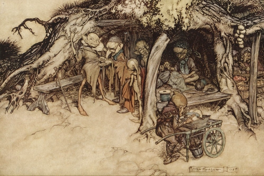 A watercolor of fairies from Shakespeare's A Midsummer Night's Dream by Arthur Rackham