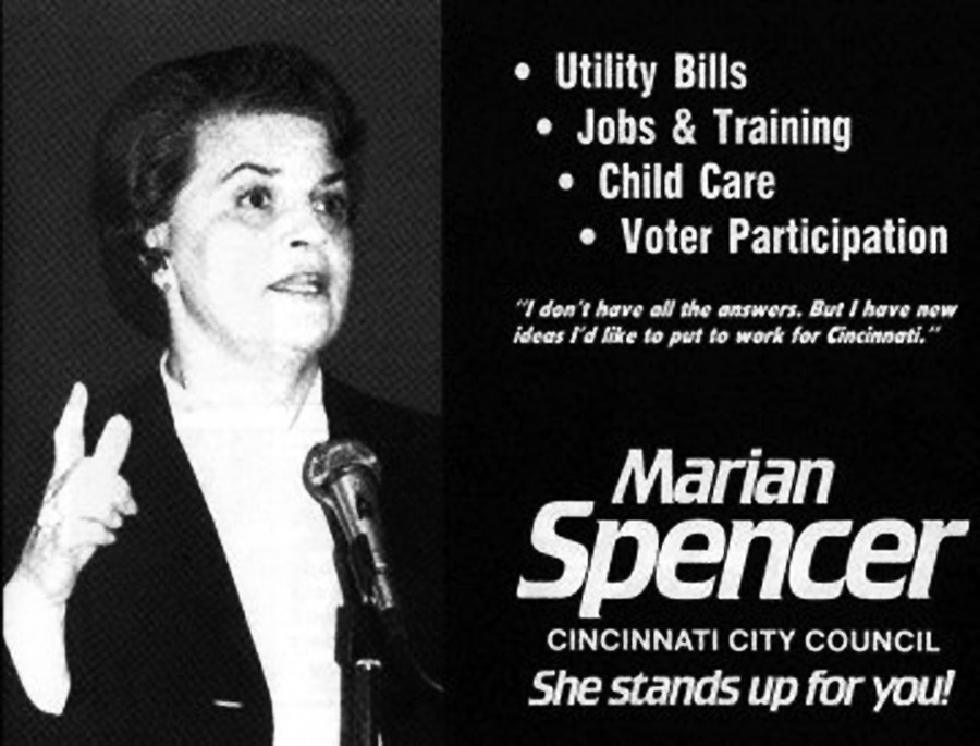 A newspaper ad for Marian Spencer's political campaign for Cincinnati City Council.
