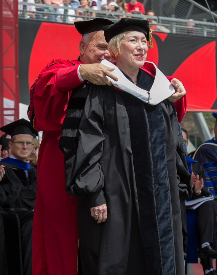 Nancy Zimpher gets hooded as an honorary degree recipient