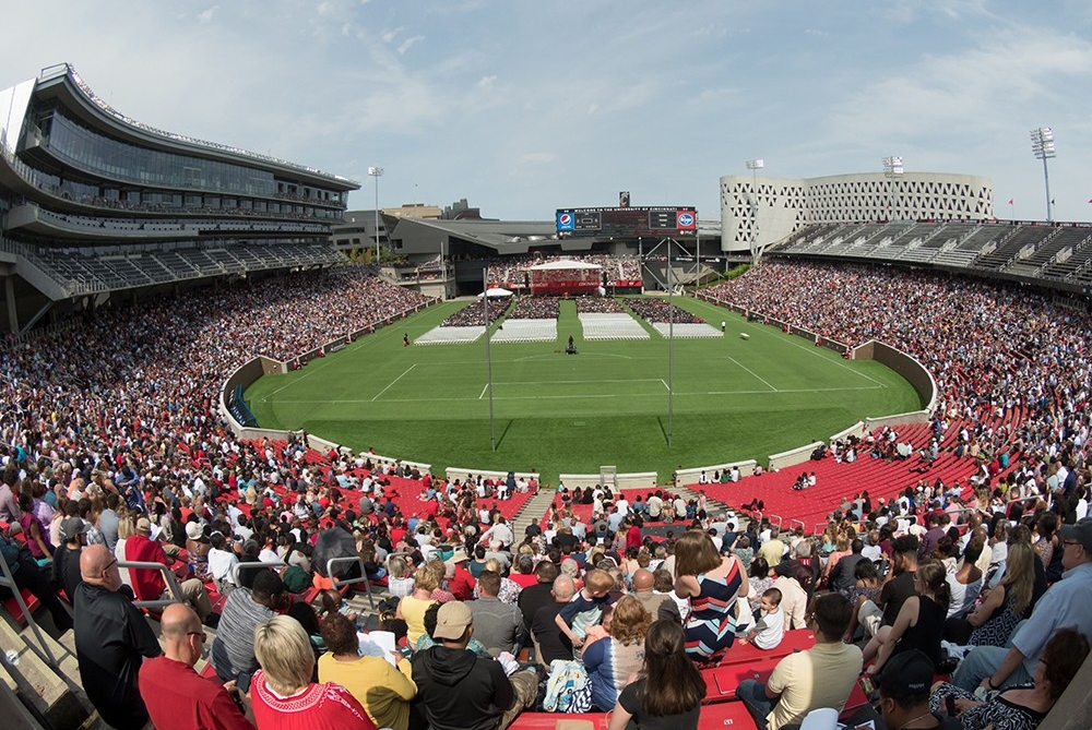 Panoramic shot of Nippert Stadium at the April 2017 Commencement